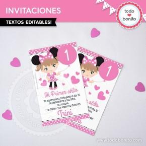 Orejas Minnie Rosa: invitación para imprimir