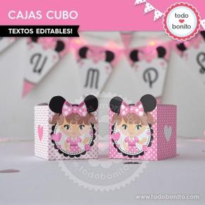 Orejas Minnie Rosa: cajita cubo
