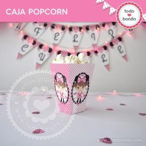 Orejas Minnie Rosa: cajita popcorn
