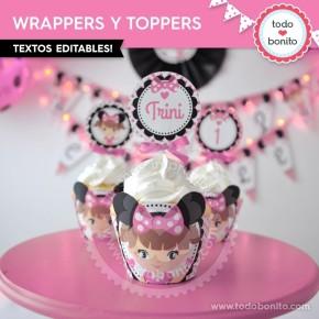 Orejas Minnie Rosa Niña: wrappers y toppers para cupcakes