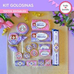 Princesita Sofia: kit etiquetas de golosinas
