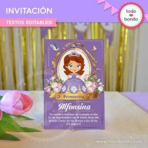 Princesita Sofia: invitación para imprimir