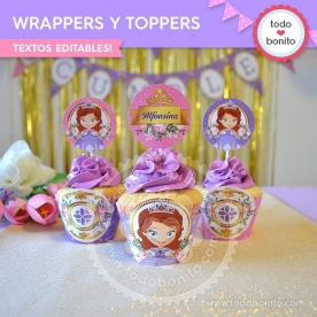 Princesita Sofia: wrappers y toppers para cupcakes