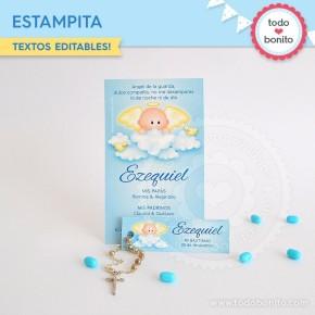 Angelito bebé celeste:  tarjeta + mini tarjeta