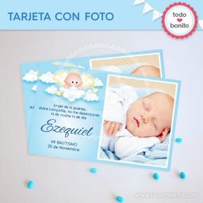 Angelito bebé celeste: tarjeta con foto