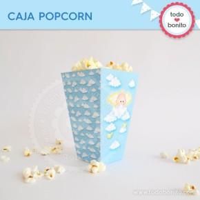 Angelito bebé celeste: cajita popcorn