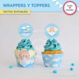 Angelito bebé celeste:  wrappers y toppers