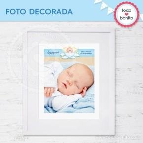 Angelito bebé celeste: foto decorada