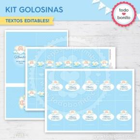 Angelito bebé celeste: kit etiquetas de golosinas