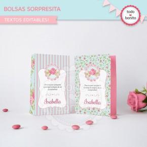 Shabby Chic aqua+rosa: bolsa sorpresita para imprimir