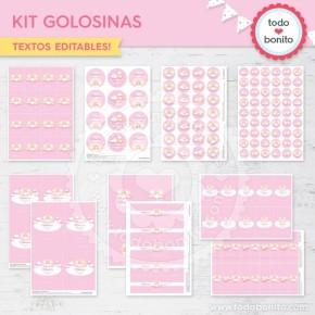 Angelito bebé rosa: kit etiquetas de golosinas