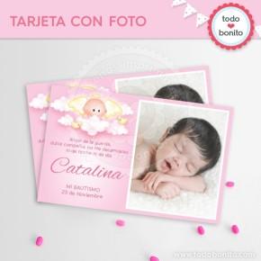 Angelito bebé rosa: tarjeta con foto