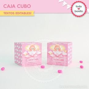 Angelito bebé rosa: cajita cubo