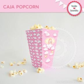 Angelito bebé rosa: cajita popcorn