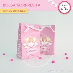 Angelito bebé rosa: bolsa sorpresita para imprimir