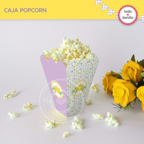 Shabby Chic violeta y amarillo: cajita popcorn