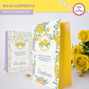 Shabby Chic violeta y amarillo: bolsa sorpresita para imprimir