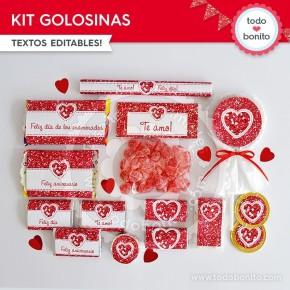 Corazón glitter rojo: kit etiquetas de golosinas