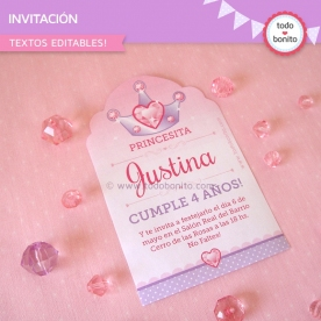 Princesa: invitación para imprimir