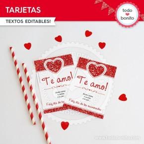 Corazón glitter rojo: tarjeta