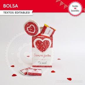 Corazón glitter rojo: bolsa sorpresita para imprimir