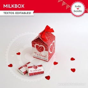 Corazón glitter rojo: milkbox