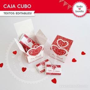 Corazón glitter rojo: caja cubo