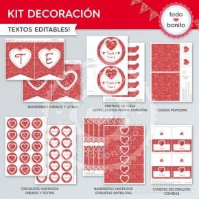 Corazón glitter rojo: kit decoración