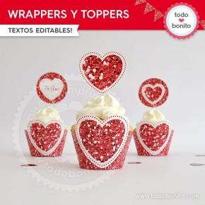Corazón glitter rojo: wrappers y toppers