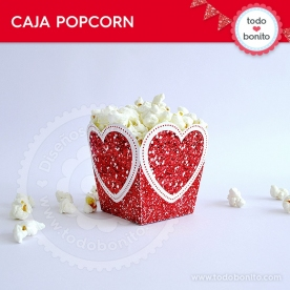 Corazón glitter rojo: caja popcorn