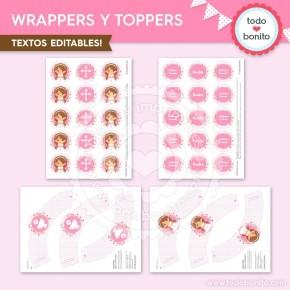 Comunión Niña Rosa: wrappers y toppers