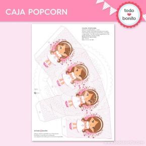 Comunión Niña Rosa: cajita popcorn