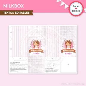 Comunión Niña Rosa: milkbox