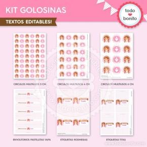 Comunión Niña Rosa:  kit etiquetas de golosinas
