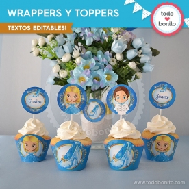 Cenicienta: wrappers y toppers para cupcakes