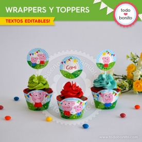 Cerdita: wrappers y toppers para cupcakes