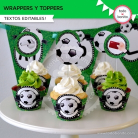 Fútbol: wrappers y toppers para cupcakes