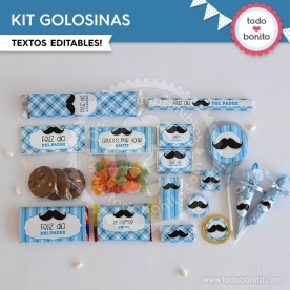 Bigotes:  kit etiquetas de golosinas