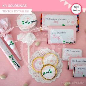 Pajarito rosa: kit etiquetas de golosinas