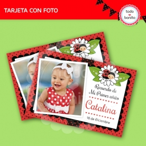 Ladybug rojo: tarjeta con foto