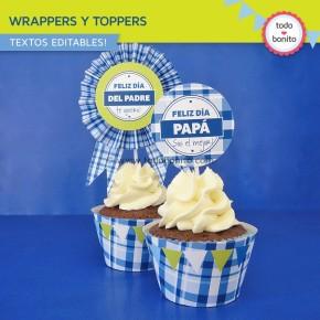 Día del padre: wrappers y toppers para cupcakes