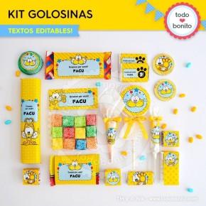 Gaturro: kit etiquetas de golosinas