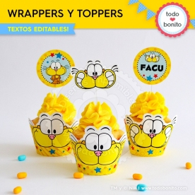 Gaturro: wrappers y toppers para cupcakes