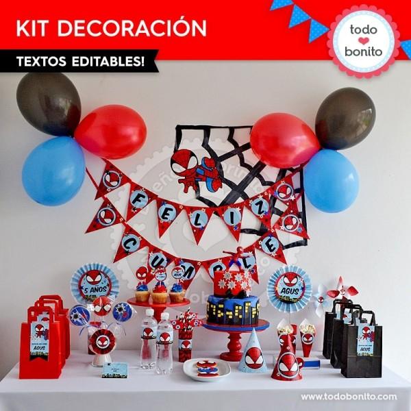 Decoracion Fiesta Grado Hombre ~ Hombre Ara?a decoraci?n de fiesta para imprimir  Todo Bonito