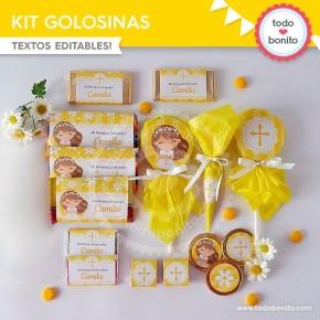 Primera Comunión Margaritas:  kit etiquetas de golosinas