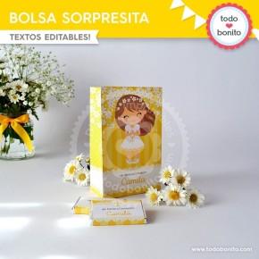 Primera Comunión Margaritas: bolsa sorpresita para imprimir