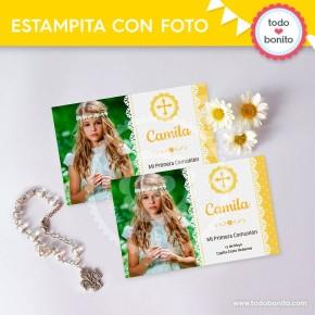 Primera Comunión Margaritas: tarjeta con foto