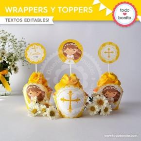 Primera Comunión Margaritas: wrappers y toppers