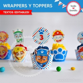 Cachorros: wrappers y toppers para cupcakes