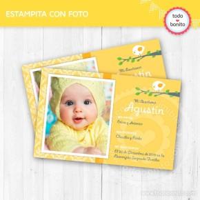 Pajarito amarillo: tarjeta con foto